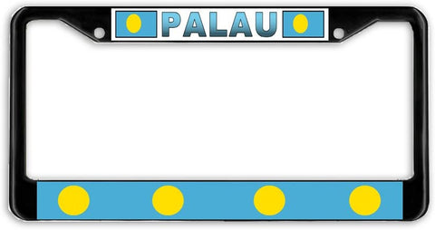 Palau Flag Black Metal Car Auto License Plate Frame Holder Black