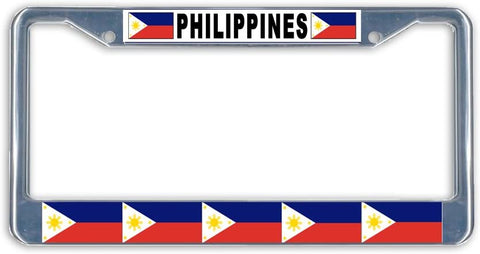 Philippines Flag #2 Metal License Plate Frame Holder Chrome