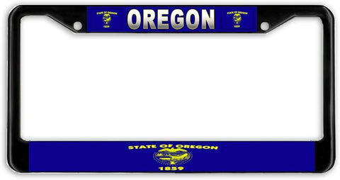 Oregon #2 State Flag Black Metal Car Auto License Plate Frame Holder Black