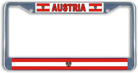 Austria Flag Metal License Plate Frame Holder Chrome