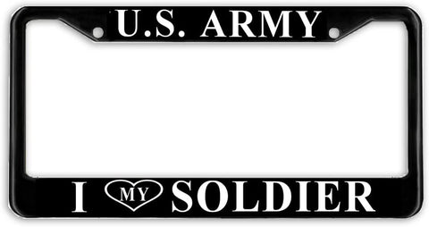 US Army I Love My Soldier Military License Plate Frame Holder Black …