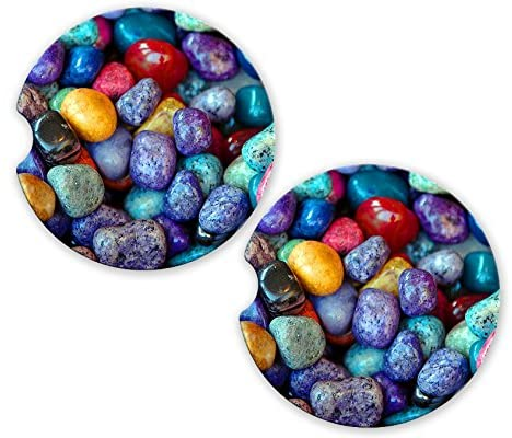 Colorful Pebbles Stones Photo Sandstone Car Cup Holder Matching Coaster Set