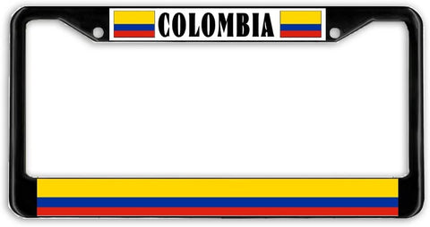 Colombia Flag Black Metal Car Auto License Plate Frame Holder Black