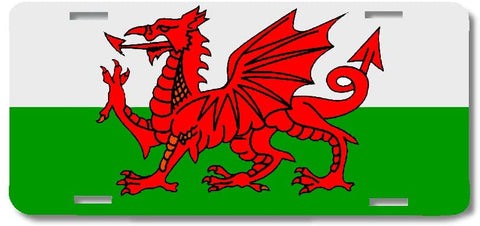 BrownInnovativeMedia Wales Welsh Dragon World Flag Metal License Plate Car Tag Cover
