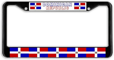 Dominican Republic #2 Flag Black Metal Car Auto License Plate Frame Holder Black