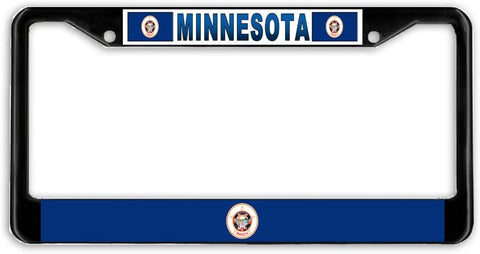 Minnesota State Flag Black Metal Car Auto License Plate Frame Holder Black