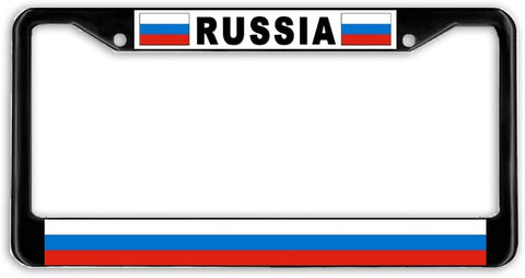 Russia Flag Black Metal Car Auto License Plate Frame Holder Black