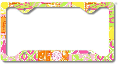 Yellow Pink Sun Mosiac Print Monogram Personalized Custom Initials License Plate Frame Car Tag