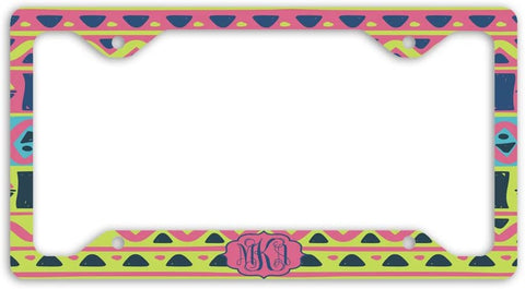 BrownInnovativeMedia Pink Yellow Aztec Tribal Print Monogram Personalized Custom Initials License Plate Frame Car Tag