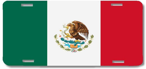 BrownInnovativeMedia Mexico World Flag Metal License Plate Car Tag Cover