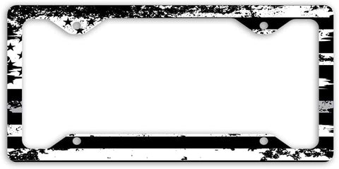 Thin Gray Line Distressed Support for Correctional Officers USA Flag License Plate Frame Car Tag