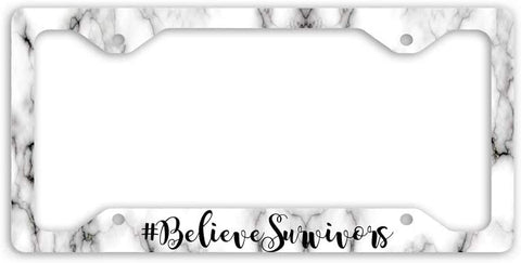 BrownInnovativeMedia Believe Survivors Women Marble License Plate Frame Car Tag
