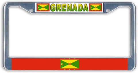 BrownInnovativeMedia Grenada Flag Metal License Plate Frame Holder Chrome