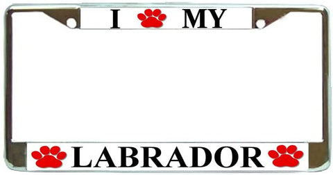 BrownInnovativeMedia Labrador Love Paw Dog License Plate Frame Holder Chrome
