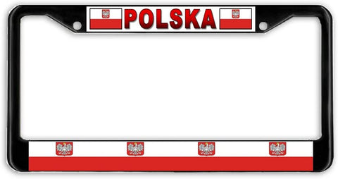 Poland Polish Polska Flag Black Metal Car Auto License Plate Frame Holder Black