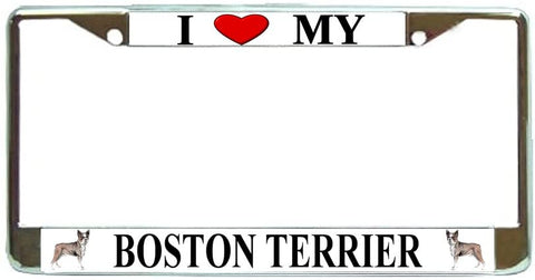 Boston Terrier Love My Dog Photo License Plate Frame Holder Chrome