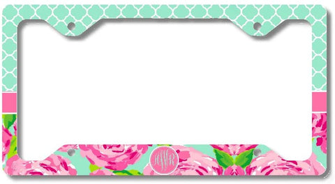 Floral Mint Quatrefoil Print Monogram Personalized Custom Initials License Plate Frame Car Tag