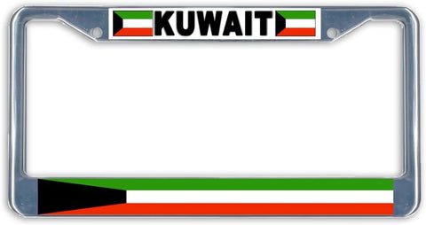 Kuwait Flag Metal License Plate Frame Holder Chrome