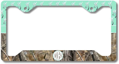BrownInnovativeMedia Mint Monogrammed Deer Buck Camo Print Monogram Personalized Custom Initials License Plate Frame Car Tag