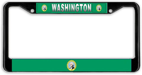Washington #2 State Flag Black Metal Car Auto License Plate Frame Holder Black