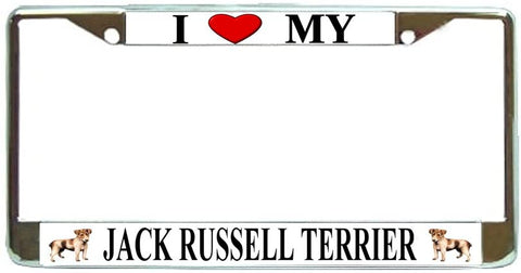 Jack Russell Terrier Love My Dog Photo License Plate Frame Holder Chrome