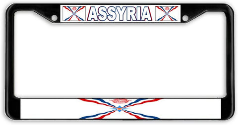 BrownInnovativeMedia Assyria Flag Black Metal Car Auto License Plate Frame Holder Black