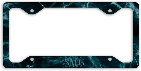 BrownInnovativeMedia Black Teal Marble Print Monogram Personalized Custom Initials License Plate Frame Car Tag
