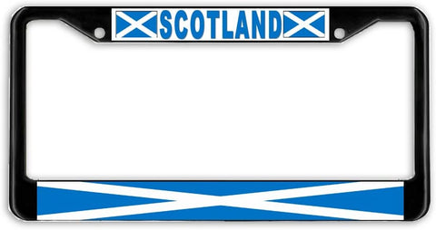 Scotland Scottish Flag Black Metal Car Auto License Plate Frame Holder Black