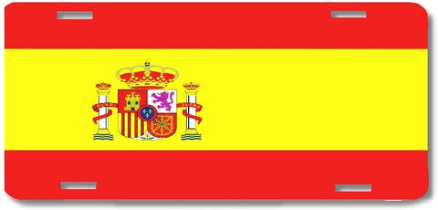 BrownInnovativeMedia Spain World Flag Metal License Plate Car Tag Cover