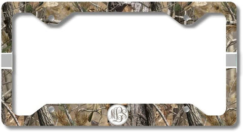 Brown Camo Gray Ribbon Print Monogram Personalized Custom Initials License Plate Frame Car Tag