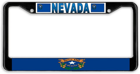 Nevada State Flag Black Metal Car Auto License Plate Frame Holder Black