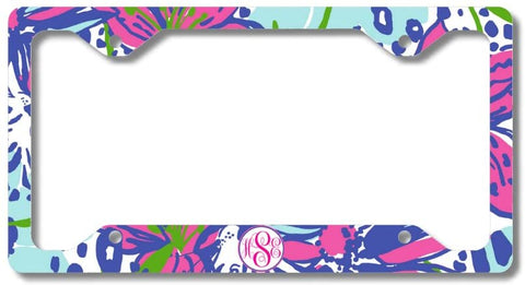 Purple Pink Floral Print Monogram Personalized Custom Initials License Plate Frame Car Tag