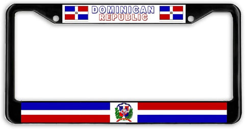 Dominican Republic Flag Black Metal Car Auto License Plate Frame Holder Black