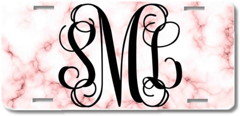BrownInnovativeMedia White Rose Blush Pink Marble Print Monogram Personalized Custom Initials License Plate Car Tag