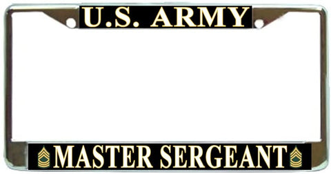 US Army Master Sergeant E-8 Military License Plate Frame Holder Chrome …