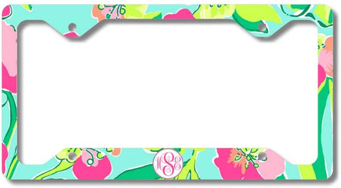 Mint Pink Floral Print Monogram Personalized Custom Initials License Plate Frame Car Tag