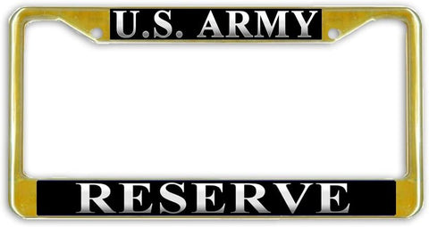 US Army Reserve Military License Plate Frame Holder Gold Tone