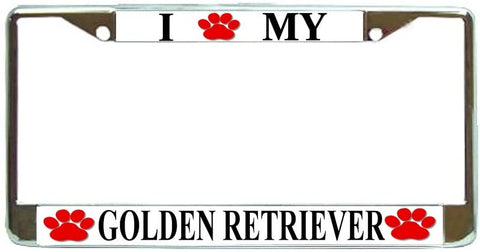 Golden Retriever Love Paw Dog License Plate Frame Holder Chrome