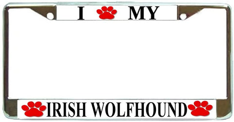 Irish Wolfhound Love Paw Dog License Plate Frame Holder Chrome