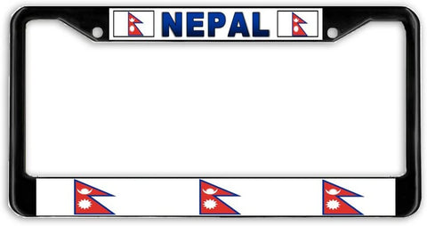 Nepal Flag Black Metal Car Auto License Plate Frame Holder Black