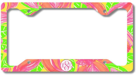 Pink Yellow Tropical Flowers Print Monogram Personalized Custom Initials License Plate Frame Car Tag
