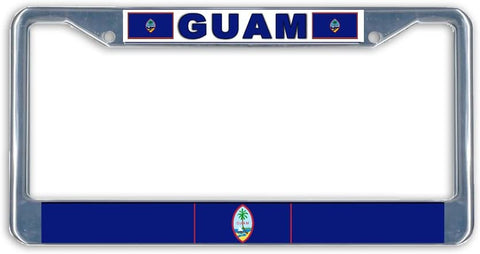 Guam Flag Metal License Plate Frame Holder Chrome