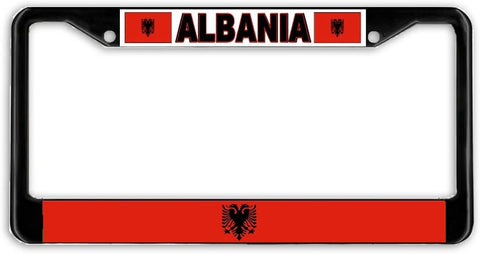 Albania Flag Black Metal Car Auto License Plate Frame Holder Black