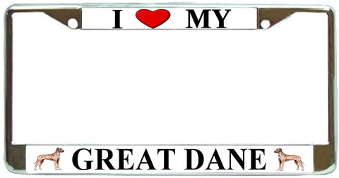 Great Dane Love My Dog Photo License Plate Frame Holder Chrome