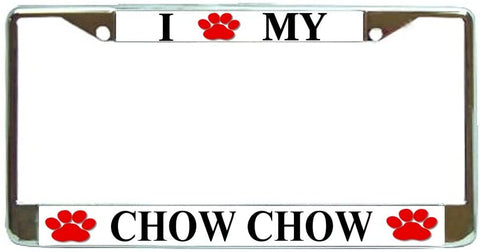 Chow Chow Love Paw Dog License Plate Frame Holder Chrome
