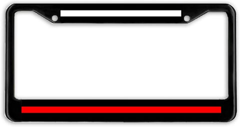 EMS Firefighter Thin Red Line License Plate Frame Holder Black