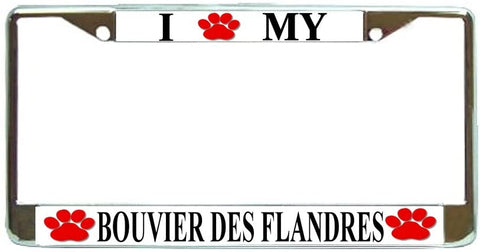 Bouvier Des Flandres Love Paw Dog License Plate Frame Holder Chrome