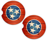BrownInnovativeMedia Tennessee Flag Wood Custom Sandstone Car Cup Holder Matching Coaster Set