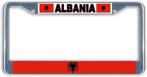 Albania Flag Metal License Plate Frame Holder Chrome