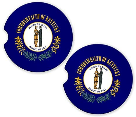 Kentucky State Flag Custom Car Coasters Cup Holder Matching Coaster Set